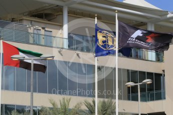World © Octane Photographic Ltd. Formula 1 flags. Friday 27th November 2015, F1 Abu Dhabi Grand Prix, Practice 1, Yas Marina. Digital Ref: 1477CB1L5335