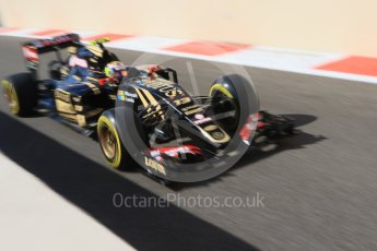World © Octane Photographic Ltd. Lotus F1 Team E23 Hybrid – Pastor Maldonado. Friday 27th November 2015, F1 Abu Dhabi Grand Prix, Practice 1, Yas Marina. Digital Ref: 1477CB7D1733