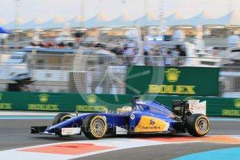 World © Octane Photographic Ltd. Sauber F1 Team C34-Ferrari – Marcus Ericsson. Friday 27th November 2015, F1 Abu Dhabi Grand Prix, Practice 2, Yas Marina. Digital Ref: 1478CB1L5747