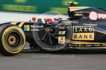 World © Octane Photographic Ltd. Lotus F1 Team E23 Hybrid – Pastor Maldonado. Friday 27th November 2015, F1 Abu Dhabi Grand Prix, Practice 2, Yas Marina. Digital Ref: 1478CB1L5829