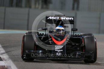 World © Octane Photographic Ltd. McLaren Honda MP4/30 – Fernando Alonso. Friday 27th November 2015, F1 Abu Dhabi Grand Prix, Practice 2, Yas Marina. Digital Ref: 1478LB1D7513