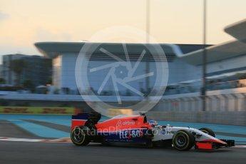World © Octane Photographic Ltd. Manor Marussia F1 Team MR03B – Roberto Merhi. Friday 27th November 2015, F1 Abu Dhabi Grand Prix, Practice 2, Yas Marina. Digital Ref: 1478LB5D4059
