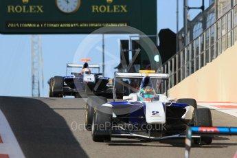 World © Octane Photographic Ltd. Friday 27th November 2015. Carlin – Adderly Fong and Mitchell Gilbert, GP3 Practice - Yas Marina, Abu Dhabi. Digital Ref. : 1475CB1L4486