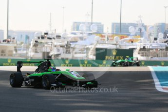 World © Octane Photographic Ltd. Friday 27th November 2015. Status Grand Prix – Seb Morris and Alex Fontana. GP3 Practice - Yas Marina, Abu Dhabi. Digital Ref. : 1475LB5D3858