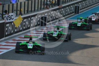 World © Octane Photographic Ltd. Saturday 28th November 2015. Status Grand Prix – Sandy Stuvik, Seb Morris and Alex Fontana. GP3 Race 1 - Yas Marina, Abu Dhabi. Digital Ref. :
