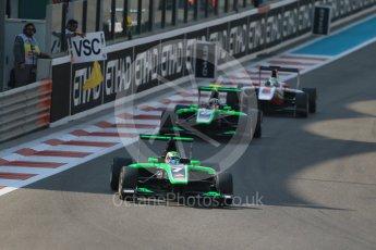 World © Octane Photographic Ltd. Saturday 28th November 2015. Status Grand Prix – Seb Morris and Alex Fontana. GP3 Race 1 - Yas Marina, Abu Dhabi. Digital Ref. :