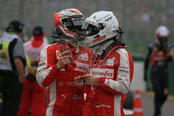 World © Octane Photographic Ltd. Scuderia Ferrari SF15-T– Sebastian Vettel and Kimi Raikkonen. Saturday 14th March 2015, F1 Australian GP Qualifying Parc Ferme, Melbourne, Albert Park, Australia. Digital Ref: 1206LB1D8064