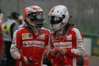 World © Octane Photographic Ltd. Scuderia Ferrari SF15-T– Sebastian Vettel and Kimi Raikkonen. Saturday 14th March 2015, F1 Australian GP Qualifying Parc Ferme, Melbourne, Albert Park, Australia. Digital Ref: 1206LB1D8066
