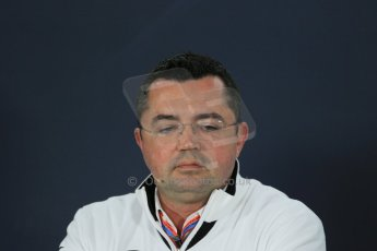 World © Octane Photographic Ltd. McLaren Honda – Eric Boullier – Racing Director. Friday 13th March 2015, F1 Australian GP FIA Team Boss Press Conference, Melbourne, Albert Park, Australia. Digital Ref: 1202LB1D6218