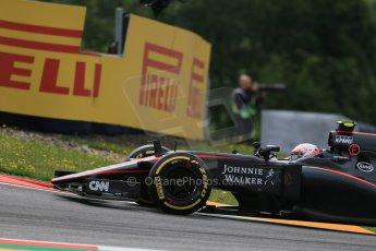 World © Octane Photographic Ltd. McLaren Honda MP4/30 - Jenson Button. Friday 19th June 2015, F1 Austrian GP Practice 1, Red Bull Ring, Spielberg, Austria. Digital Ref: 1304LB1D5161