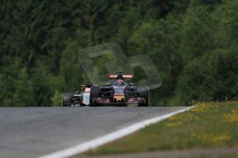 World © Octane Photographic Ltd. Scuderia Toro Rosso STR10 – Max Verstappen and Sahara Force India VJM08 – Nico Hulkenberg. Friday 19th June 2015, F1 Austrian GP Practice 1, Red Bull Ring, Spielberg, Austria. Digital Ref: 1304LB1D5761