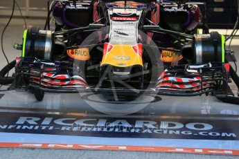 World © Octane Photographic Ltd. Infiniti Red Bull Racing RB11front brakes and suspension – Daniel Ricciardo. Friday 21st August 2015, F1 Belgian GP Pitlane, Spa-Francorchamps, Belgium. Digital Ref: 1379LB1D7459