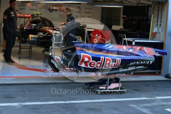 World © Octane Photographic Ltd. Scuderia Toro Rosso STR10 side pod covers – Carlos Sainz Jnr. Friday 21st August 2015, F1 Belgian GP Pitlane, Spa-Francorchamps, Belgium. Digital Ref: 1379LB1D7526