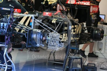 World © Octane Photographic Ltd. Lotus F1 Team E23 Hybrid front brakes, suspension and airflow sensors – Jolyon Palmer. Friday 21st August 2015, F1 Belgian GP Pitlane, Spa-Francorchamps, Belgium. Digital Ref: 1379LB1D7540