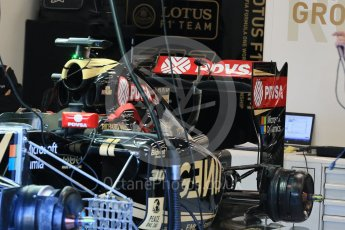 World © Octane Photographic Ltd. Lotus F1 Team E23 Hybrid rear wing – Jolyon Palmer. Friday 21st August 2015, F1 Belgian GP Pitlane, Spa-Francorchamps, Belgium. Digital Ref: 1379LB1D7542