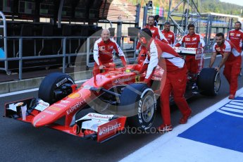 World © Octane Photographic Ltd. Scuderia Ferrari SF15-T– Sebastian Vettel. Friday 21st August 2015, F1 Belgian GP Pitlane, Spa-Francorchamps, Belgium. Digital Ref: 1379LB5D6293