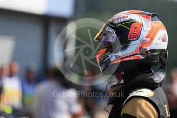 World © Octane Photographic Ltd. Lotus F1 Team E23 Hybrid – Romain Grosjean. Saturday 22nd August 2015, F1 Belgian GP Qualifying Parc Ferme, Spa-Francorchamps, Belgium. Digital Ref: