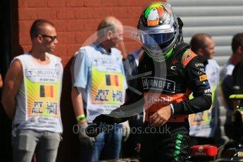 World © Octane Photographic Ltd. Sahara Force India VJM08B – Sergio Perez. Saturday 22nd August 2015, F1 Belgian GP Qualifying Parc Ferme, Spa-Francorchamps, Belgium. Digital Ref: