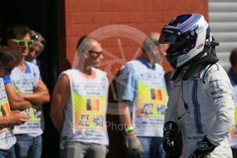 World © Octane Photographic Ltd. Williams Martini Racing FW37 – Valtteri Bottas. Saturday 22nd August 2015, F1 Belgian GP Qualifying Parc Ferme, Spa-Francorchamps, Belgium. Digital Ref: