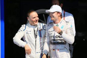 World © Octane Photographic Ltd. Mercedes AMG Petronas F1 W06 Hybrid – Nico Rosberg (2nd) and Williams Martini Racing FW37 – Valtteri Bottas (3rd). Saturday 22nd August 2015, F1 Belgian GP Qualifying, Spa-Francorchamps, Belgium. Digital Ref: