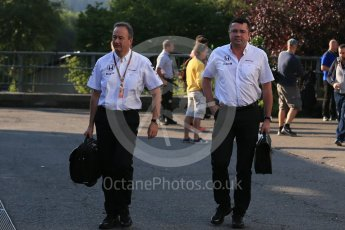 World © Octane Photographic Ltd. McLaren Honda - Eric Boullier and Jonathan Neale. Saturday 22nd August 2015, F1 Belgian GP Paddock, Spa-Francorchamps, Belgium. Digital Ref: 1380LB1D9278