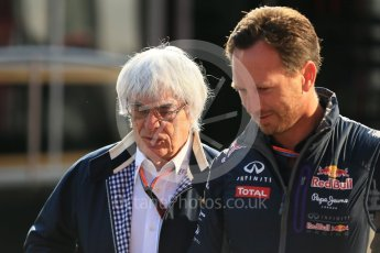 World © Octane Photographic Ltd. Infiniti Red Bull Racing - Christian Horner and Bernie Ecclestone. Saturday 22nd August 2015, F1 Belgian GP Paddock, Spa-Francorchamps, Belgium. Digital Ref: 1380LB1D9686