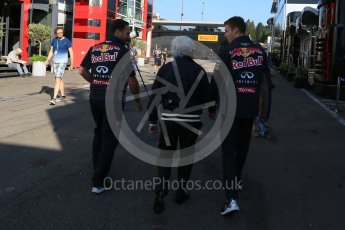 World © Octane Photographic Ltd. Infiniti Red Bull Racing - Christian Horner, Daniil Kvyat and Bernie Ecclestone. Saturday 22nd August 2015, F1 Belgian GP Paddock, Spa-Francorchamps, Belgium. Digital Ref: 1380LB5D9267