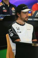 World © Octane Photographic Ltd. FIA Drivers' Press Conference. Thursday 23rd July 2015, F1 Belgian GP, Spa-Francorchamps, Belgium. Fernando Alonso – McLaren Honda. Digital Ref: 1371LB5D6276