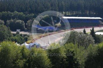World © Octane Photographic Ltd. Eau Rouge through the trees. Thursday 20th August 2015, F1 Belgian GP Paddock, Spa-Francorchamps, Belgium. Digital Ref: 1370LB1D6691