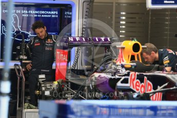 World © Octane Photographic Ltd. Infiniti Red Bull Racing RB11 – Daniil Kvyat. Thursday 20th August 2015, F1 Belgian GP Pitlane, Spa-Francorchamps, Belgium. Digital Ref: 1370LB1D6746