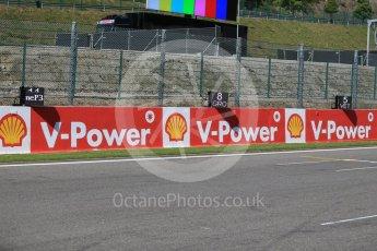 World © Octane Photographic Ltd. Electronic grid position boards. Thursday 20th August 2015, F1 Belgian GP grid, Spa-Francorchamps, Belgium. Digital Ref: 1370LB1D6765