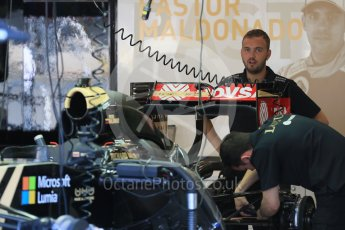 World © Octane Photographic Ltd. Lotus F1 Team E23 Hybrid – Pastor Maldonado. Thursday 20th August 2015, F1 Belgian GP Pitlane, Spa-Francorchamps, Belgium. Digital Ref: 1370LB1D7025