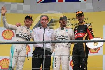 World © Octane Photographic Ltd. Mercedes AMG Petronas F1 W06 Hybrid – Lewis Hamilton (1st), Nico Rosberg (2nd) and Lotus F1 Team E23 Hybrid – Romain Grosjean (3rd). Sunday 23rd August 2015, F1 Belgian GP Podium, Spa-Francorchamps, Belgium. Digital Ref: 1390LB1D2520