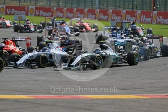 World © Octane Photographic Ltd. Mercedes AMG Petronas F1 W06 Hybrid – Nico Rosberg looses out and drops to 5th at the first corner. Sunday 23rd August 2015, F1 Belgian GP Race, Spa-Francorchamps, Belgium. Digital Ref: 1389LB1D2048