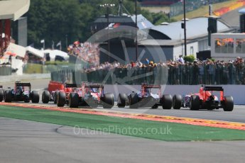 World © Octane Photographic Ltd. The pack heads down toward Eau Rouge for the first time. Sunday 23rd August 2015, F1 Belgian GP Race, Spa-Francorchamps, Belgium. Digital Ref: 1389LB1D2082
