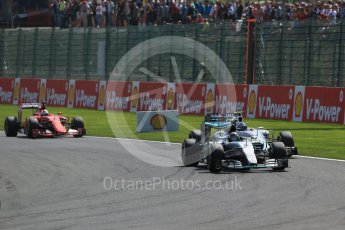 World © Octane Photographic Ltd. Mercedes AMG Petronas F1 W06 Hybrid – Nico Rosberg and Williams Martini Racing FW37 – Valtteri Bottas. Sunday 23rd August 2015, F1 Belgian GP Race, Spa-Francorchamps, Belgium. Digital Ref: 1389LB1D2117