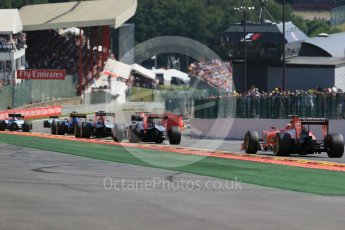 World © Octane Photographic Ltd. The pack heading to Eau Rouge. Sunday 23rd August 2015, F1 Belgian GP Race, Spa-Francorchamps, Belgium. Digital Ref: 1389LB1D2204