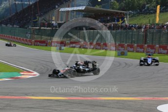 World © Octane Photographic Ltd. McLaren Honda MP4/30 – Fernando Alonso and Sauber F1 Team C34-Ferrari – Felipe Nasr. Sunday 23rd August 2015, F1 Belgian GP Race, Spa-Francorchamps, Belgium. Digital Ref: 1389LB5D0017