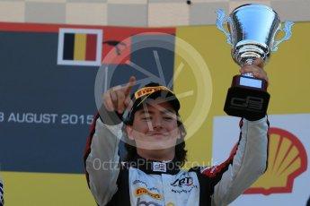 World © Octane Photographic Ltd. Sunday 23rd August 2015. ART Grand Prix - Alfonso Celis Jr (3rd). GP3 Race 2 Podium – Spa-Francorchamps, Belgium. Digital Ref. : 1385LB1D1599