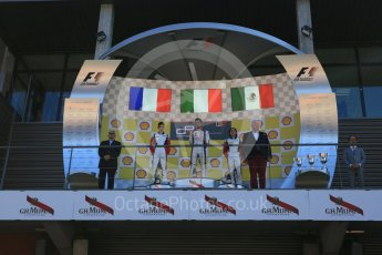 World © Octane Photographic Ltd. Sunday 23rd August 2015. Trident – Luca Ghiotto (1st), ART Grand Prix – Esteban Ocon(2nd) and Alfonso Celis Jr (3rd). GP3 Race 2 Podium – Spa-Francorchamps, Belgium. Digital Ref. : 1385LB5D9789