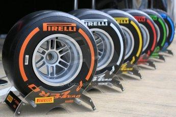 World © Octane Photographic Ltd. Pirelli compounds. Thursday 2nd July 2015, F1 British GP Paddock, Silverstone, UK. Digital Ref: 1324LB5D8565