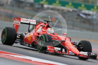 World © Octane Photographic Ltd. Scuderia Ferrari SF15-T– Sebastian Vettel. Friday 23rd October 2015, F1 USA Grand Prix Practice 1, Austin, Texas - Circuit of the Americas (COTA). Digital Ref: 1460LB1D9502