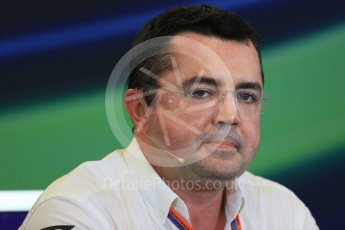 World © Octane Photographic Ltd. FIA Team Personnel Press Conference. Friday 23rd October 2015, F1 USA Grand Prix, Austin, Texas - Circuit of the Americas (COTA). McLaren Honda Racing Director – Eric Boullier Digital Ref: 1462LB1D9668