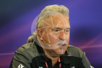 World © Octane Photographic Ltd. FIA Team Personnel Press Conference. Friday 23rd October 2015, F1 USA Grand Prix, Austin, Texas - Circuit of the Americas (COTA). Sahara Force India Team Principal – Vijay Mallya. Digital Ref: 1462LB1D9700