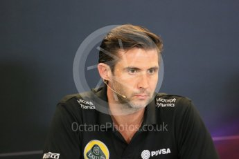 World © Octane Photographic Ltd. FIA Team Personnel Press Conference. Friday 23rd October 2015, F1 USA Grand Prix, Austin, Texas - Circuit of the Americas (COTA). Lotus F1 Team CEO – Matthew Carter. Digital Ref: 1462LB1D9779