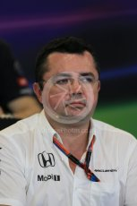 World © Octane Photographic Ltd. FIA Team Personnel Press Conference. Friday 23rd October 2015, F1 USA Grand Prix, Austin, Texas - Circuit of the Americas (COTA). McLaren Honda Racing Director – Eric Boullier Digital Ref: 1462LB1D9785