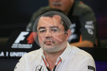 World © Octane Photographic Ltd. FIA Team Personnel Press Conference. Friday 23rd October 2015, F1 USA Grand Prix, Austin, Texas - Circuit of the Americas (COTA). McLaren Honda Racing Director – Eric Boullier Digital Ref:
