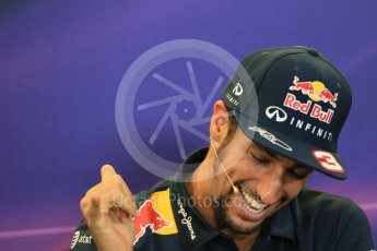 World © Octane Photographic Ltd. FIA Drivers' Press Conference. Thursday 22nd October 2015, F1 USA Grand Prix, Austin, Texas - Circuit of the Americas (COTA). Infiniti Red Bull Racing – Daniel Ricciardo. Digital Ref: 1458LB1D7889