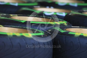 World © Octane Photographic Ltd. Lotus F1 Team E23 Hybrid - Tyres. Wednesday 21st October 2015, F1 USA Grand Prix Set Up, Austin, Texas - Circuit of the Americas (COTA). Digital Ref: 1457LB1D8410