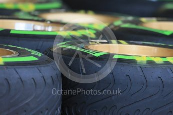 World © Octane Photographic Ltd. Lotus F1 Team E23 Hybrid - Tyres. Wednesday 21st October 2015, F1 USA Grand Prix Set Up, Austin, Texas - Circuit of the Americas (COTA). Digital Ref: 1457LB1D8414